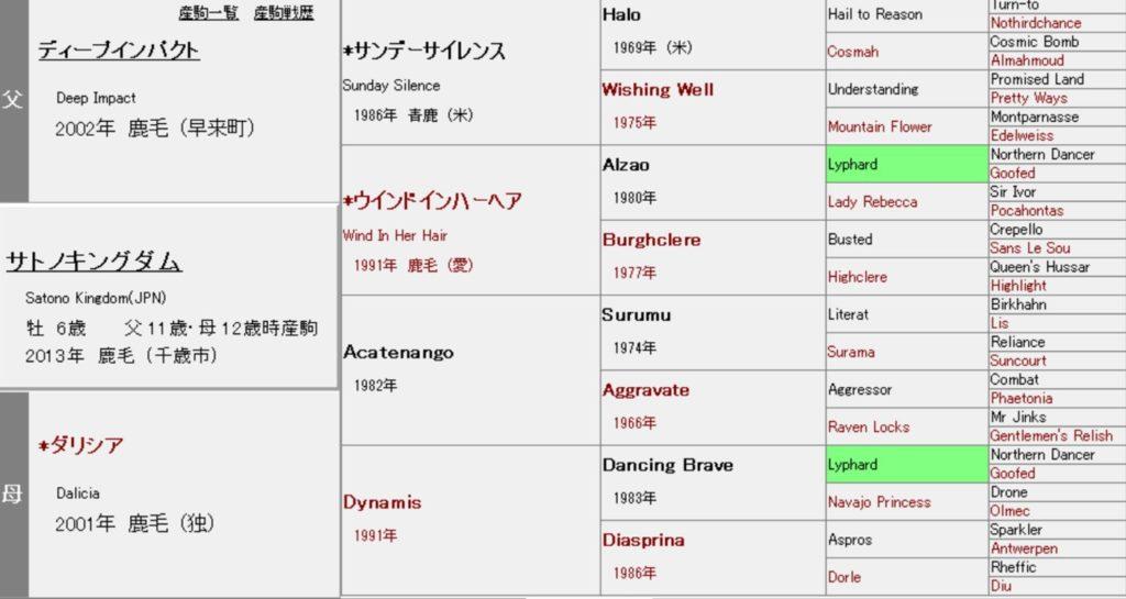 サトノキングダム 血統表